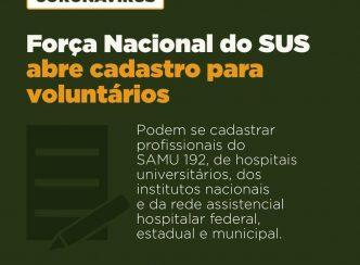 Ministério da Saúde abre cadastro de voluntários para a Força Nacional do SUS