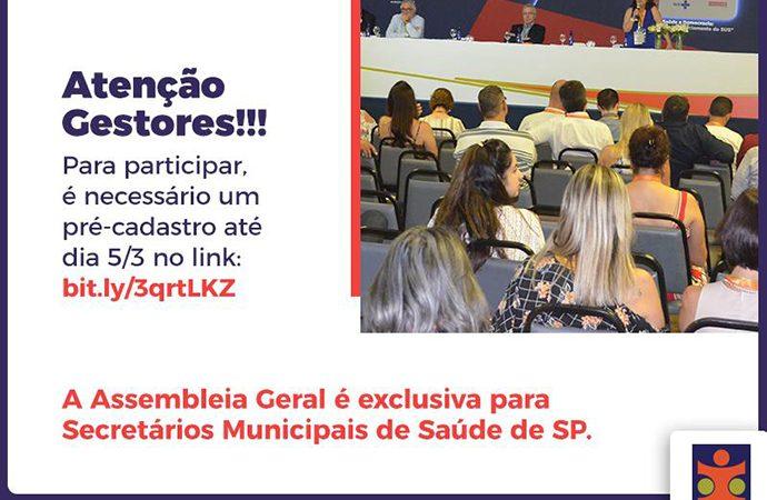 Convocação para Assembleia Geral dos Secretários Municipais de Saúde do estado de São Paulo
