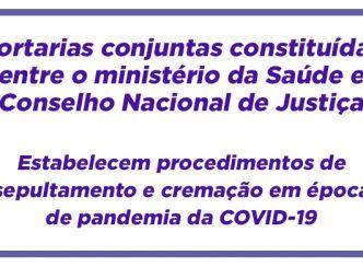 Portarias conjuntas constituídas entre o ministério da Saúde e Conselho Nacional de Justiça que estabelecem procedimentos de sepultamento