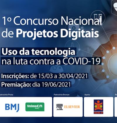 Inscrições abertas para o 1º Concurso Nacional de Projetos Digitais: Uso da Tecnologia na Luta Contra a COVID-19